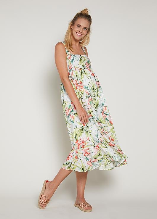 - Eteği Fırfırlı Uzun Hamile Elbisesi Elisa