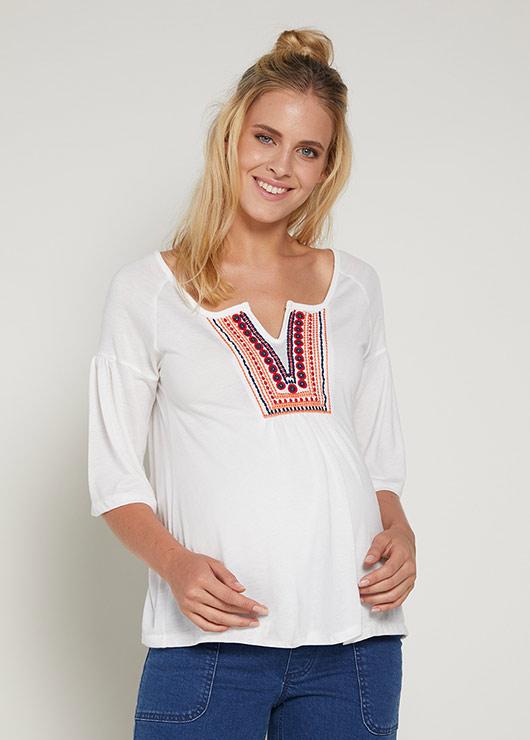- Etnik Detaylı Hamile Bluzu Bohemian