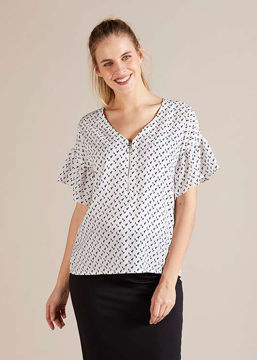 - Fermuar Detaylı Hamile Bluzu Wilma