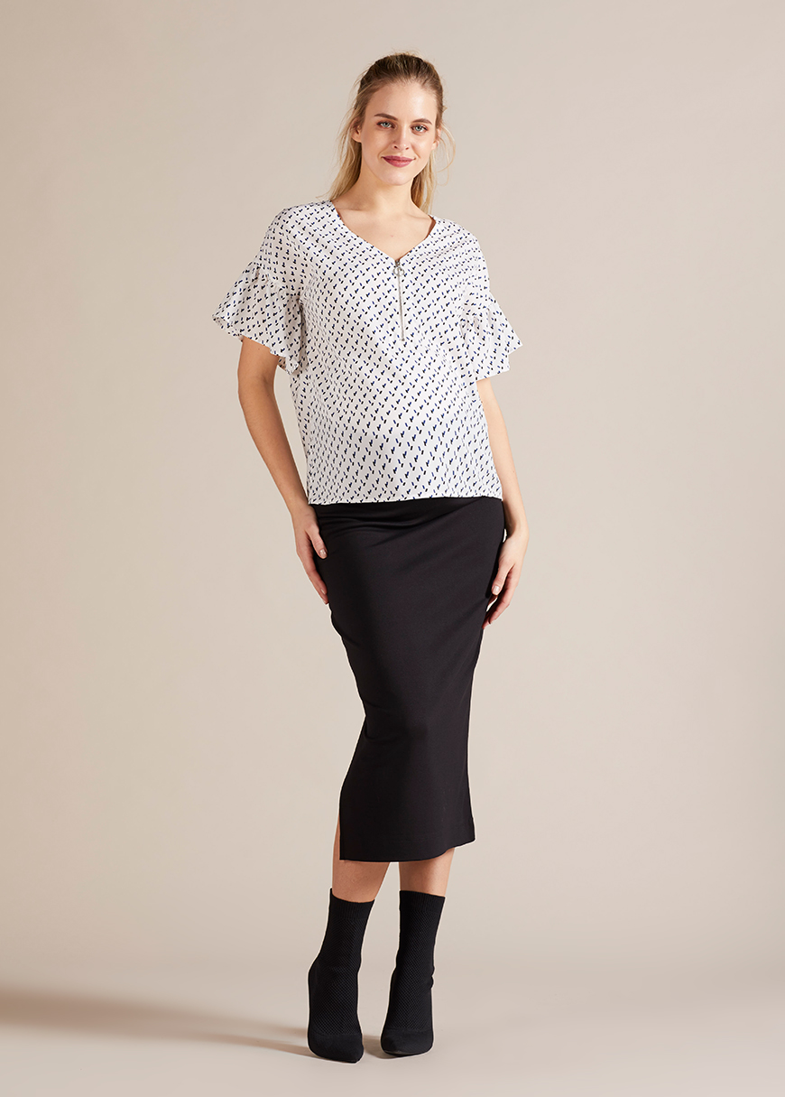 Fermuar Detaylı Hamile Bluzu Wilma