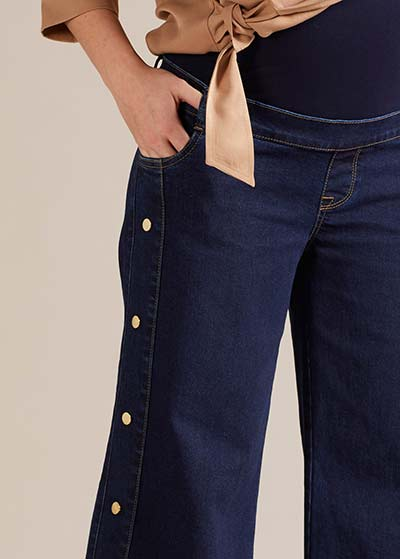 Geniş Paça Hamile Kot Pantolonu Wide - Thumbnail
