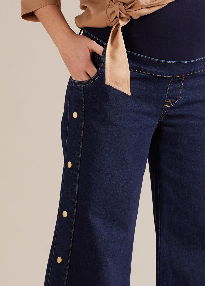 Geniş Paça Hamile Kot Pantolonu Wide