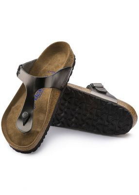 - Gizeh Natural Leather Soft footbed Metallic Anthracite 1003676