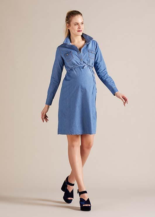 - Gömlek Yaka Hamile Kot Elbise Nepal