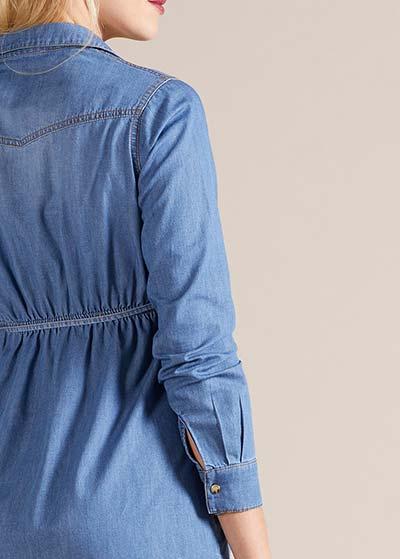 Gömlek Yaka Hamile Kot Elbise Nepal - Thumbnail
