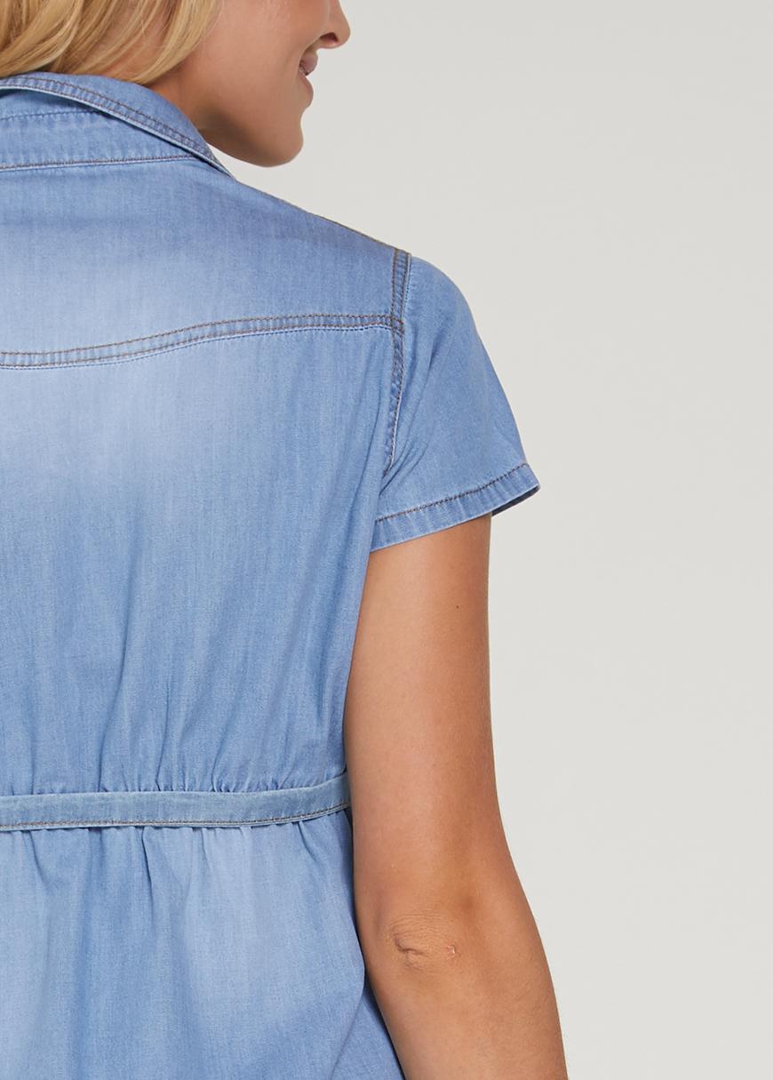 Gömlek Yaka Jean Hamile Elbisesi Rocco