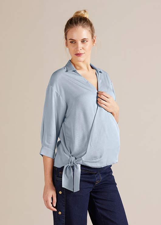 - Gömlek Yaka Oxford Hamile Bluzu Rosie