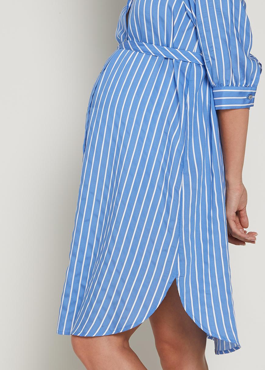 Çizgili Hamile Gömlek Elbisesi Ditsy