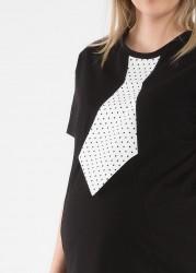 Kravat Baskılı Eğlenceli Hamile Tişörtü Tie - Thumbnail