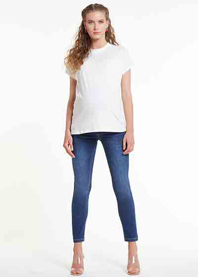 Skinny Hamile Pantolonu (Bel Kumaşı Hava Örgülü), Airband Blue - Thumbnail
