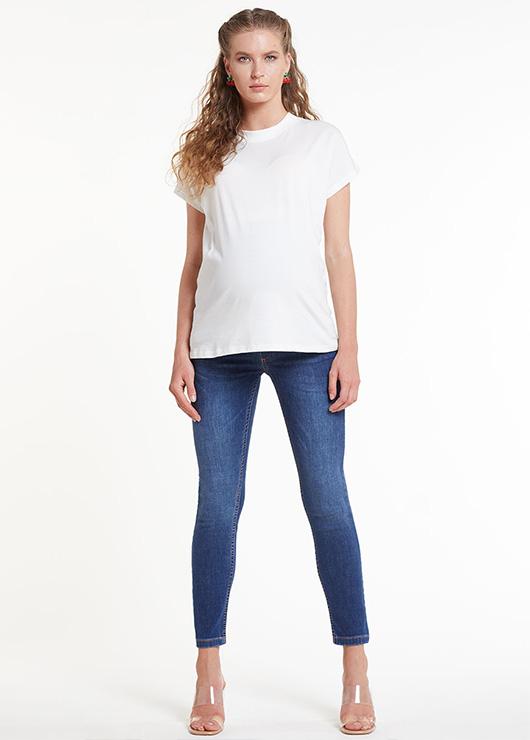 - Skinny Hamile Pantolonu (Bel Kumaşı Hava Örgülü), Airband Blue