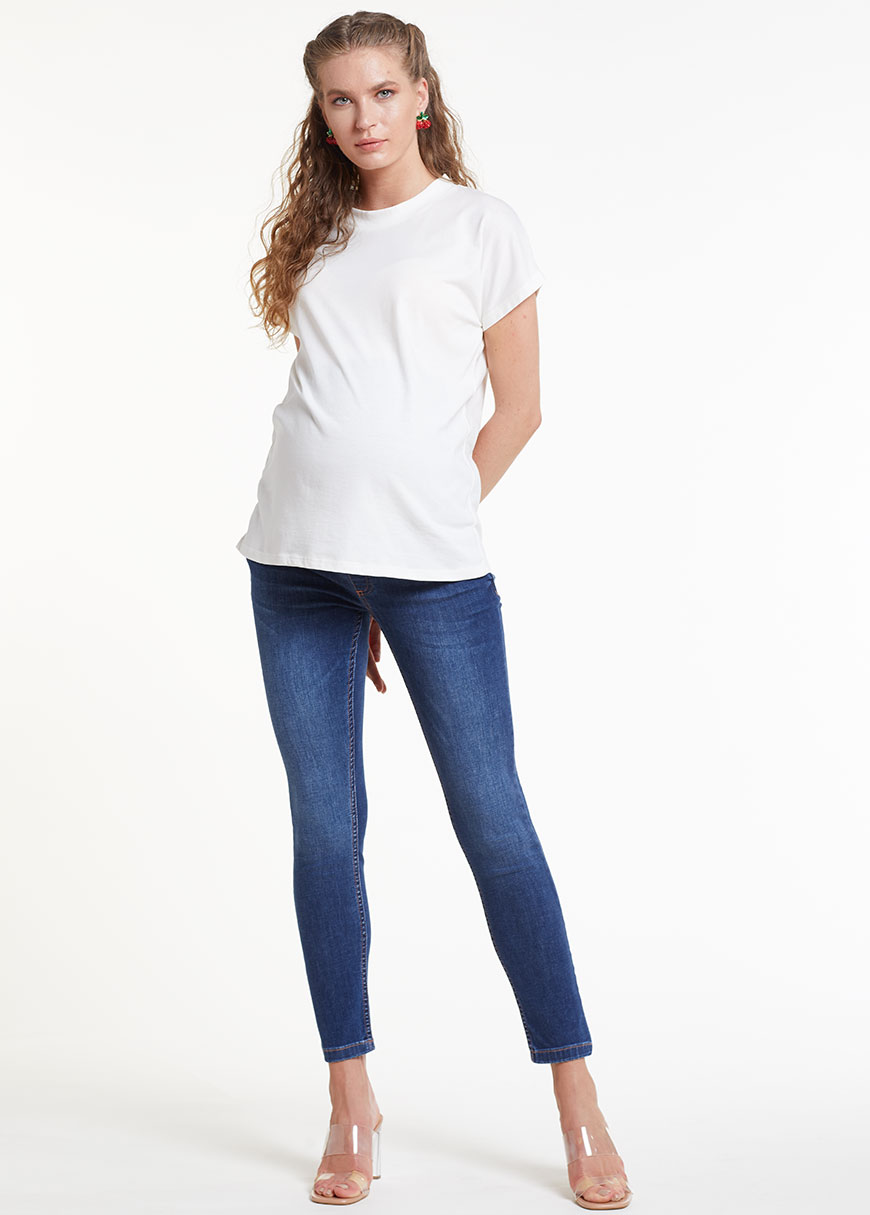 Skinny Hamile Pantolonu (Bel Kumaşı Hava Örgülü), Airband Blue