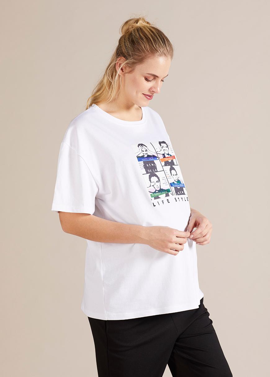 Hologram Baskılı Hamile Tişörtü Mood
