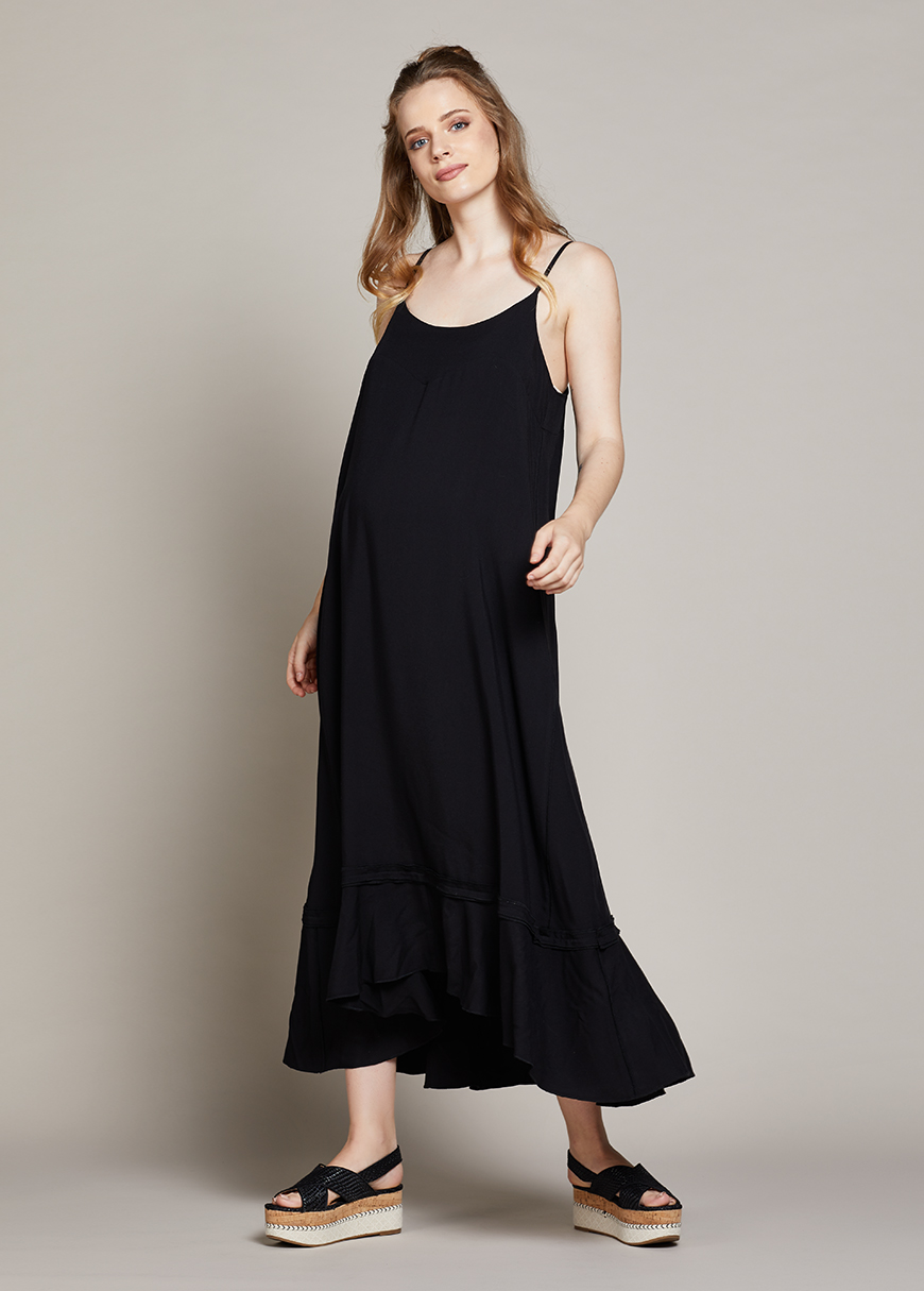 Askılı Uzun Hamile Elbisesi Berta