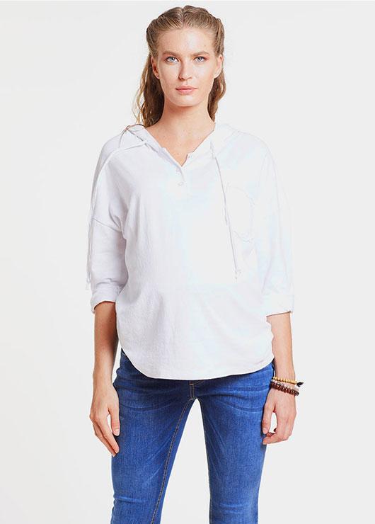 - Kapüşonlu Beyaz Hamile Sweatshirtü, Cruz
