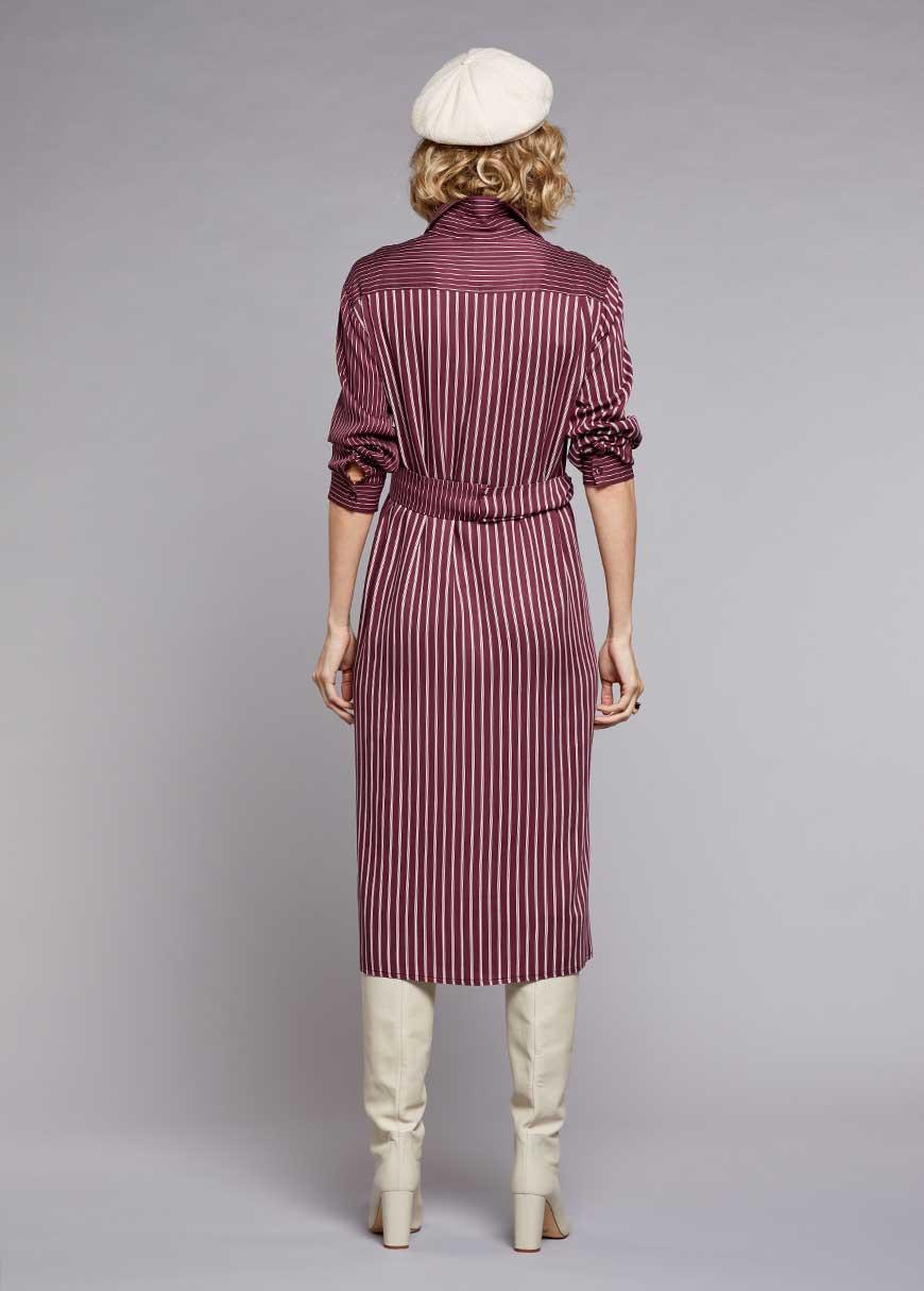 Kemerli Gömlek Elbise Claret