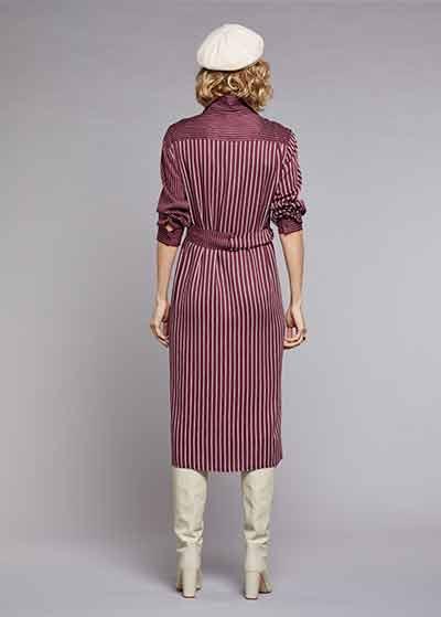 Kemerli Gömlek Elbise Claret - Thumbnail