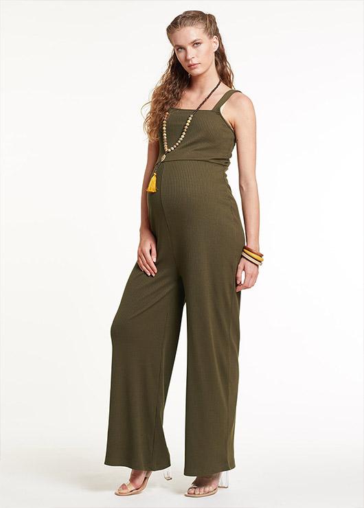 - Khaki Maternity Jumpsuit