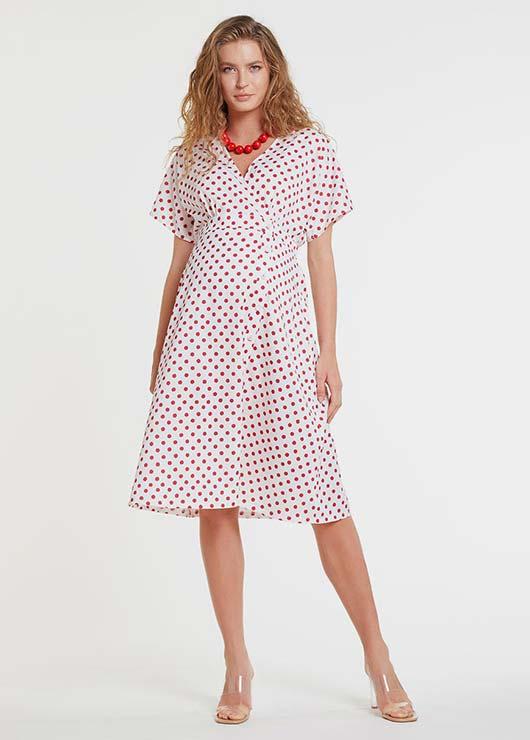 - Kırmızı Puantiyeli Beyaz Hamile Elbisesi Dress Istanbul