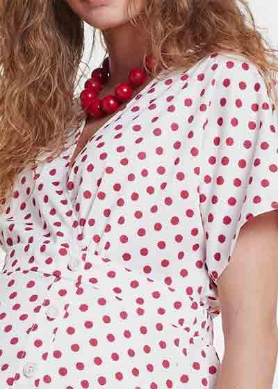 Kırmızı Puantiyeli Beyaz Hamile Elbisesi Dress Istanbul - Thumbnail