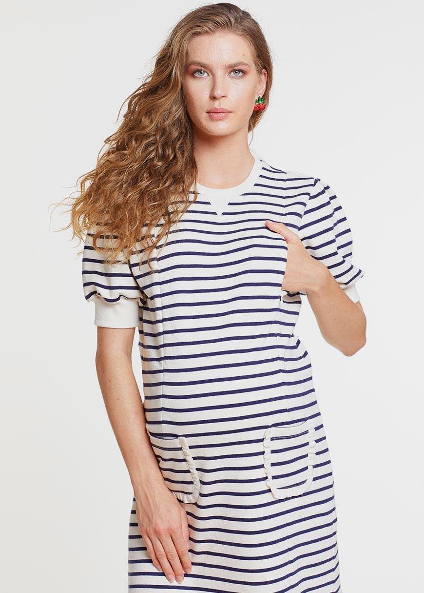 Kısa Kollu Çift Yönlü Emzirme Özellikli Hamile Sweatshirt Elbise - Germany