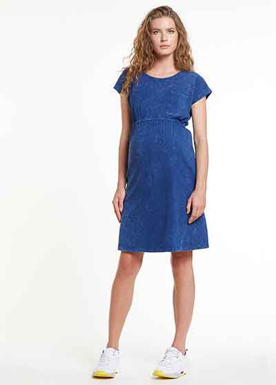 Kısa Kollu İndigo Lacivert Elbise, Dress India - Thumbnail
