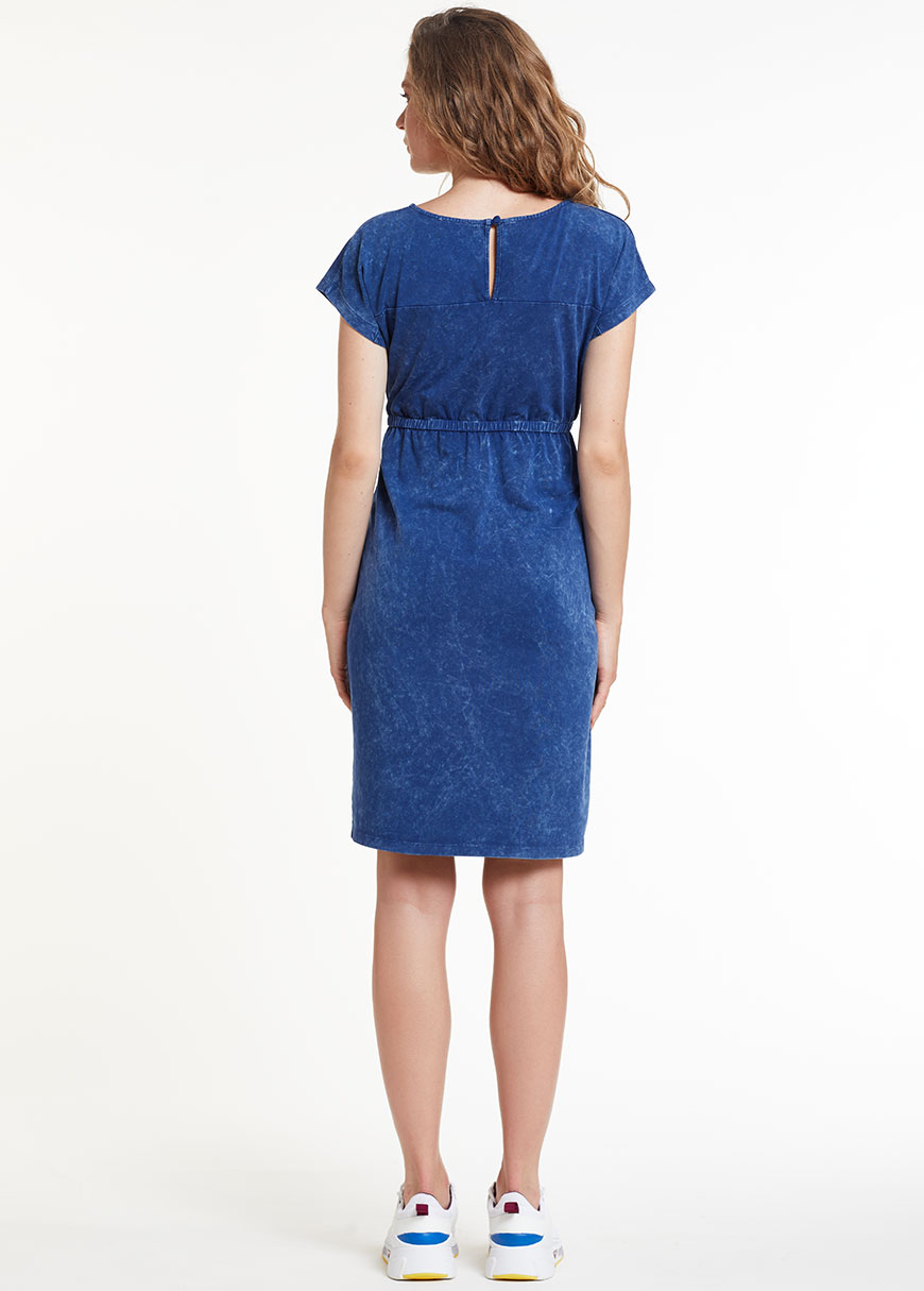 Kısa Kollu İndigo Lacivert Elbise, Dress India