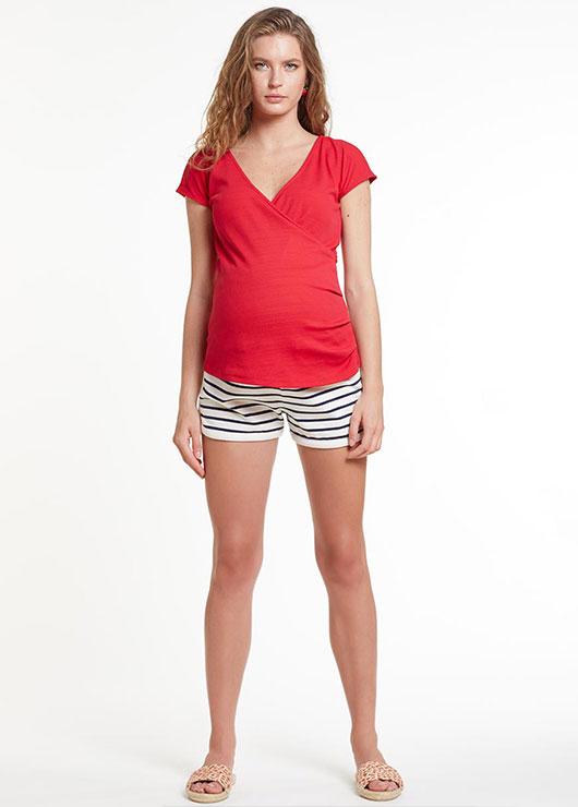 - Kısa Kollu Kırmızı Hamile Bluzu Coco