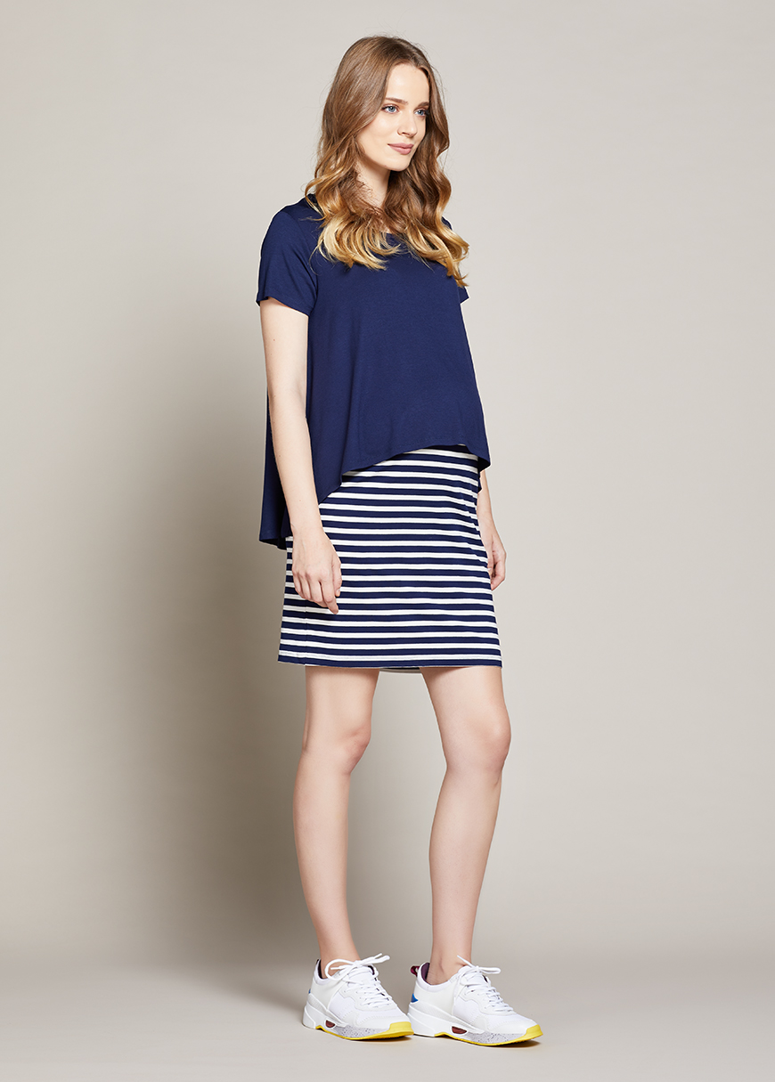 Emzirme Özellikli Hamile Elbisesi Stripe