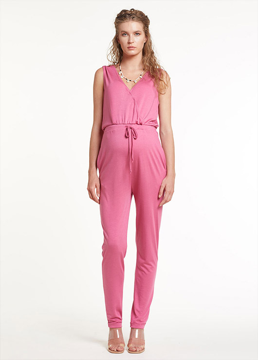- Dried Rose Color Maternity Jumpsuit Nomi