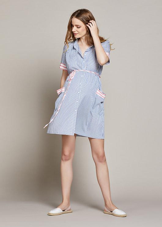 - Mavi Beyaz Çizgili Hamile Elbisesi Lora