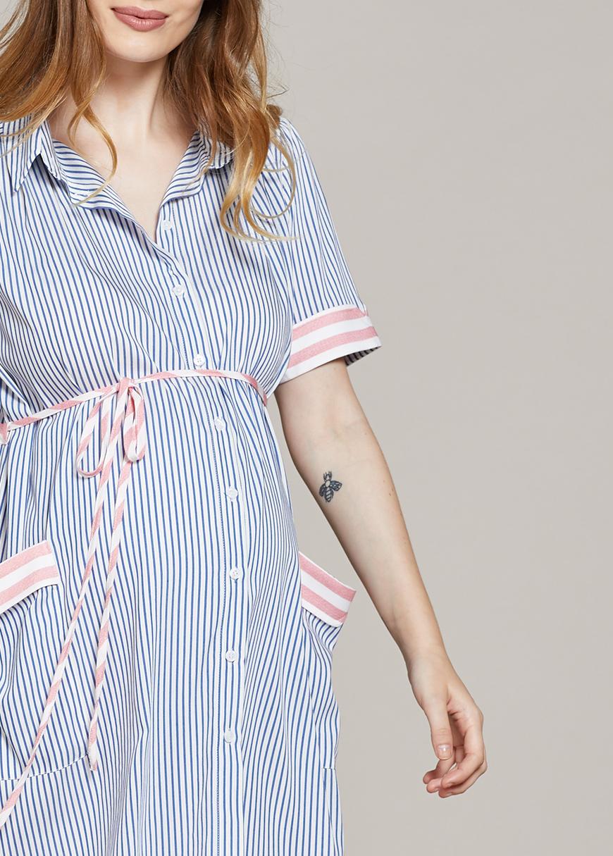 Mavi Beyaz Çizgili Hamile Elbisesi Lora