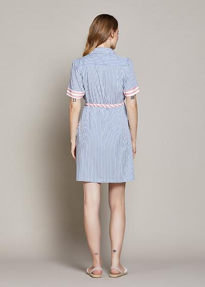 Mavi Beyaz Çizgili Hamile Elbisesi Lora - Thumbnail