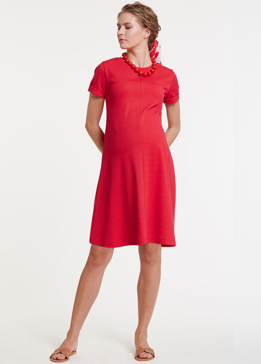 Kırmızı Hamile Elbisesi, Emzirme Özellikli Dress Melina