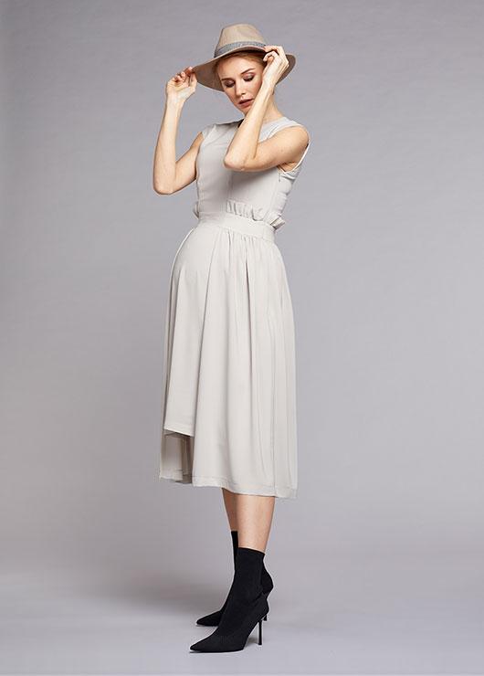 - Örme-Dokuma Birleşimli Şık Hamile Elbisesi Stone