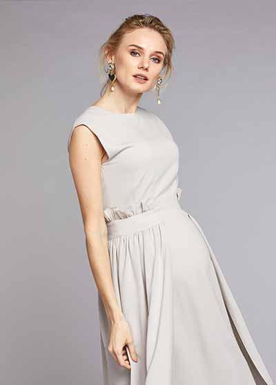 Örme-Dokuma Birleşimli Şık Hamile Elbisesi Stone - Thumbnail