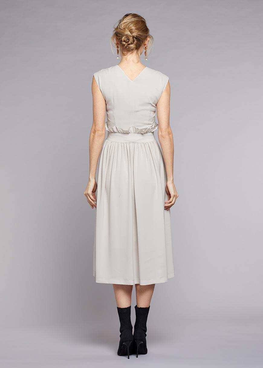 Örme-Dokuma Birleşimli Şık Hamile Elbisesi Stone