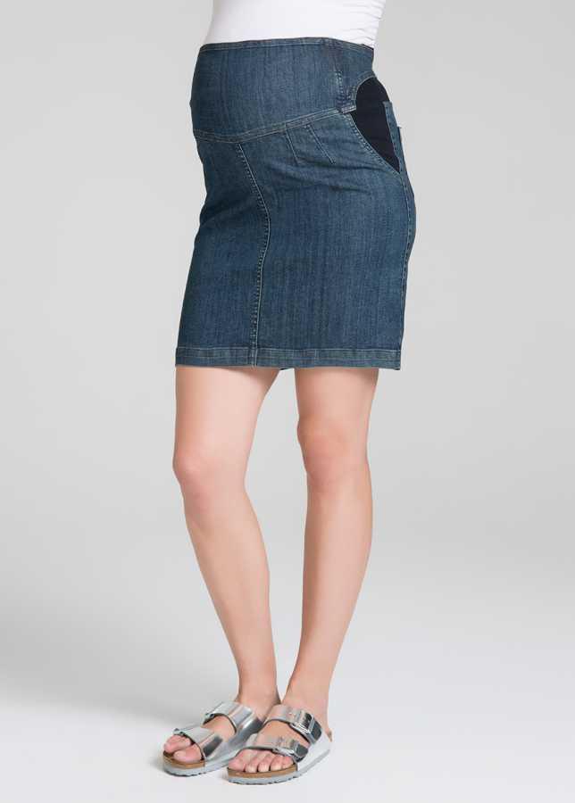 - Özel Kemer Tasarımlı Hamile Kot Eteği Clamp