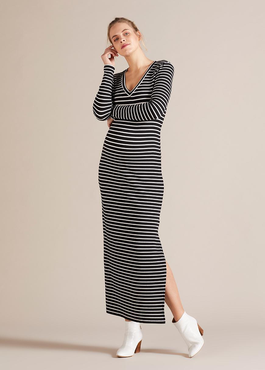 - Çizgili V Yaka Hamile Elbisesi Florantina
