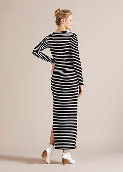 Çizgili V Yaka Hamile Elbisesi Florantina - Thumbnail