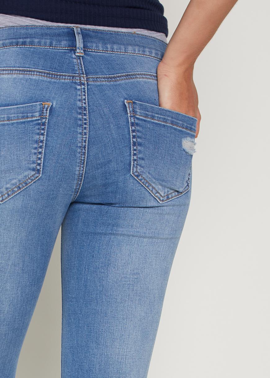 Yıpratmalı Skinny Hamile Jean Pantolon Turn
