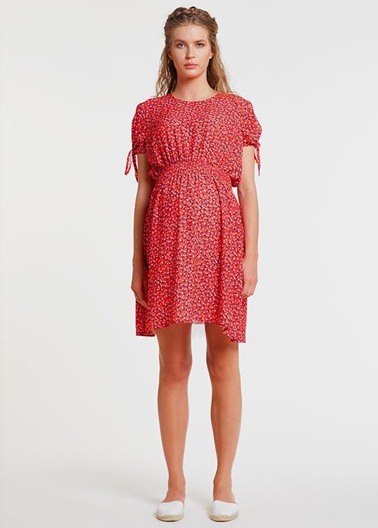 - Desenli Kırmızı Hamile Elbisesi, Dress Rose