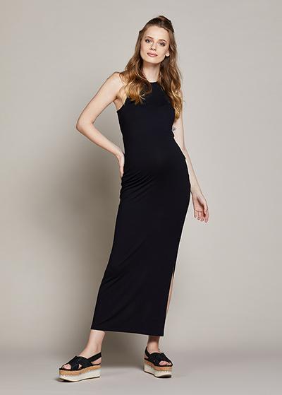 Yandan Yırtmaçlı Uzun Hamile elbisesi Lucina - Thumbnail