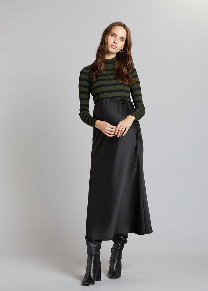 Uzun Siyah Hamile Eteği Jenna