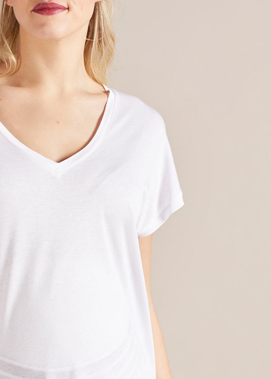 V Yaka Rahat Form Hamile Tişörtü Devi
