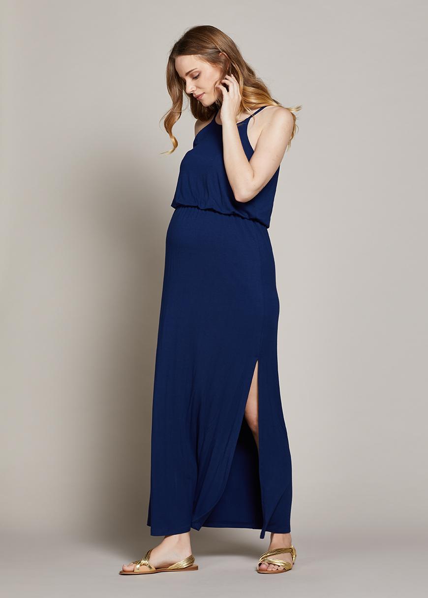 Askılı Uzun Hamile Elbisesi Ema