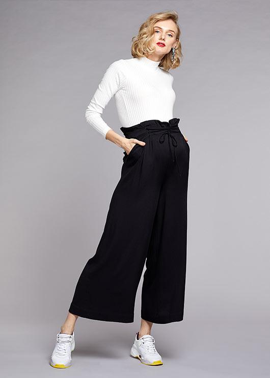 - Yüksek Bel, Bağcıklı Dokuma Pantolon Jill