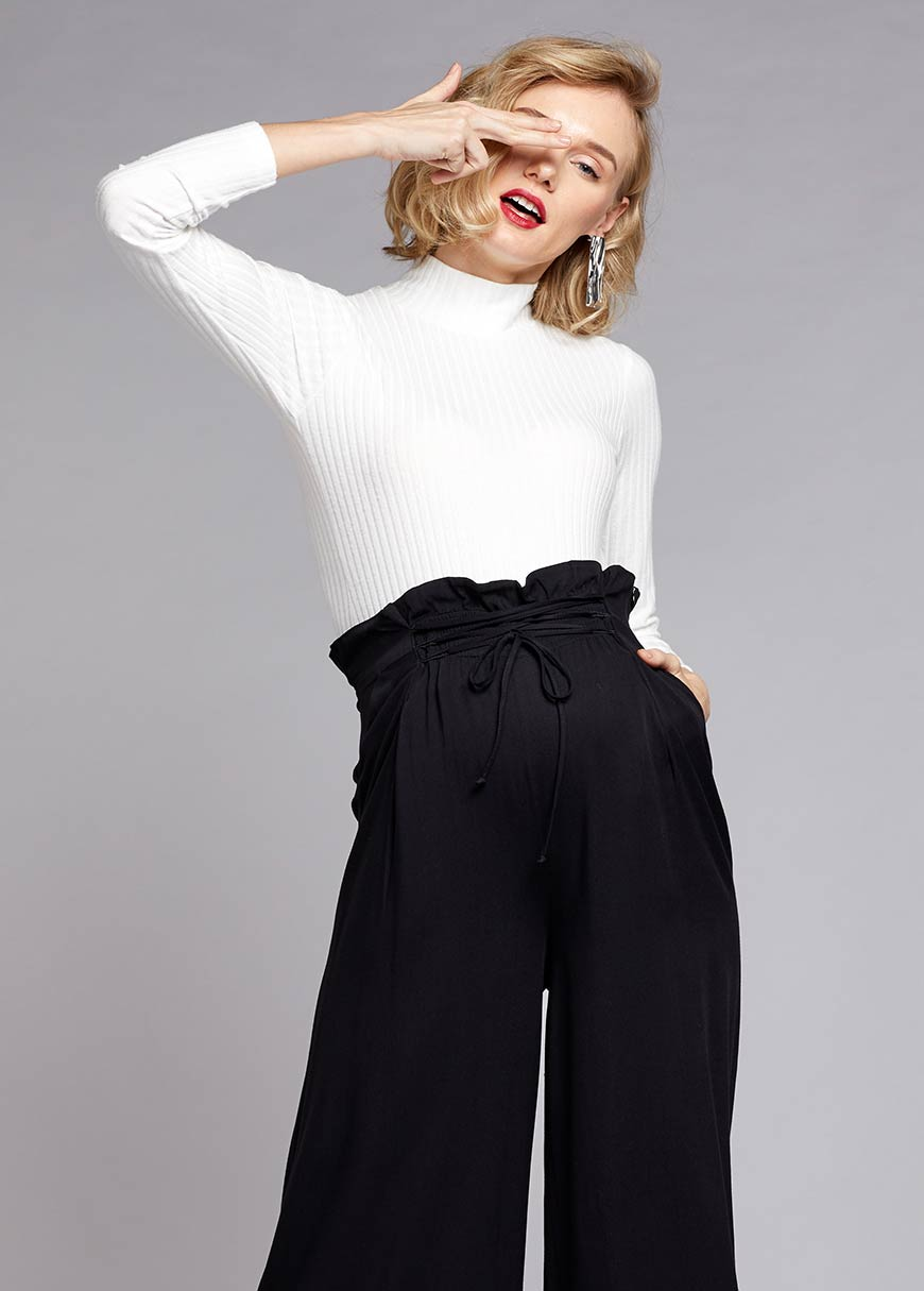 Yüksek Bel, Bağcıklı Dokuma Pantolon Jill